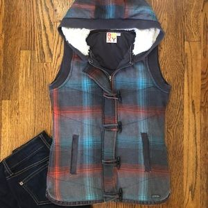 Roxy Gray Plaid Vest